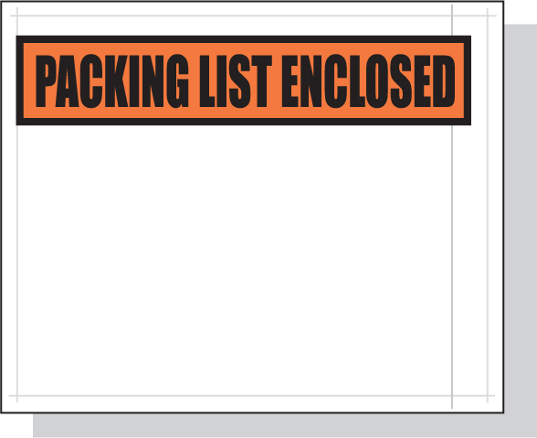 Packing List Envelopes Orange Panel Face 4.5 x 5.5 White Back/Clear Front w/Print Case:1000