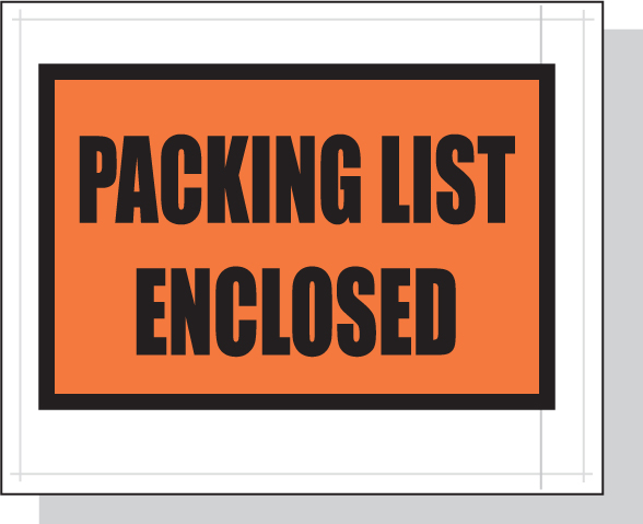 Packing List Envelopes Orange Full Face 4.5 x 5.5 White Back/Clear Front w/Print Case:1000
