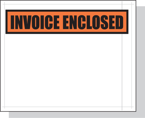 Packing List Envelopes Orange Invoice Enclosed Panel 4.5 x 5.5 White Back/Clear Front w/Print Case:1000