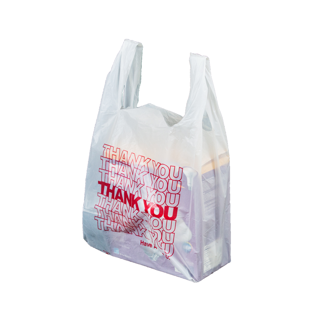 Thank You T Shirt Bags Pk Of 500 White 12x7x23 16 Microns 1 6 Size Red Print Plastic Ping