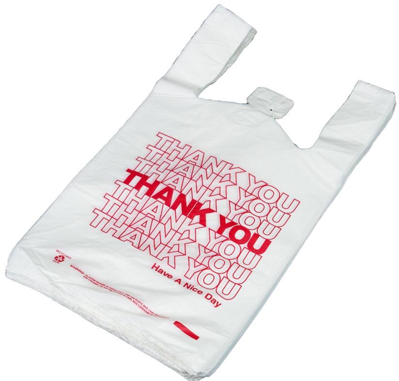 "50 THANK YOU T-Shirt Bags 11.5/"" x 6/"" x 21/"" White  Plastic  Shopping bags"