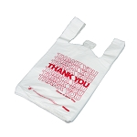 Thank You T Shirt Bags pk. of 1000 White 10x5x18 14 Microns 1/8 size Red Print Plastic Shopping Bags