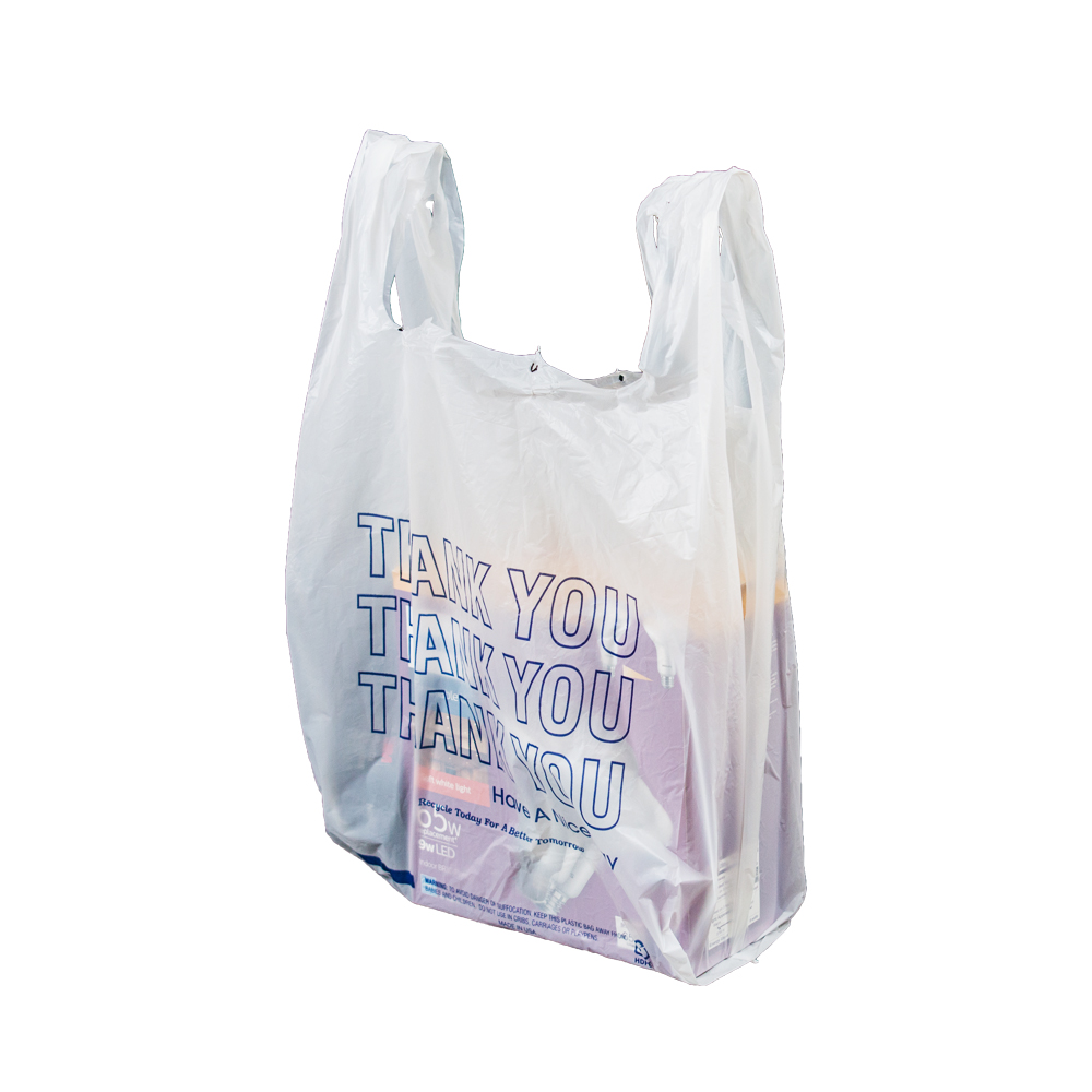 Thank You T Shirt Bags Pk Of 925 White 11 5x6 5x21 14 Microns 1 6 Size Blue Print Plastic Ping