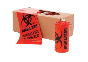 40-45 Gallon 40 x 46 Red Biohazard Bags 1.3 mil Case:100